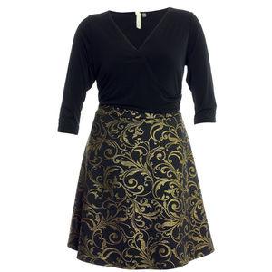 1x Black/Gold 3/4 Sleeve Brocade Dress Plus Size